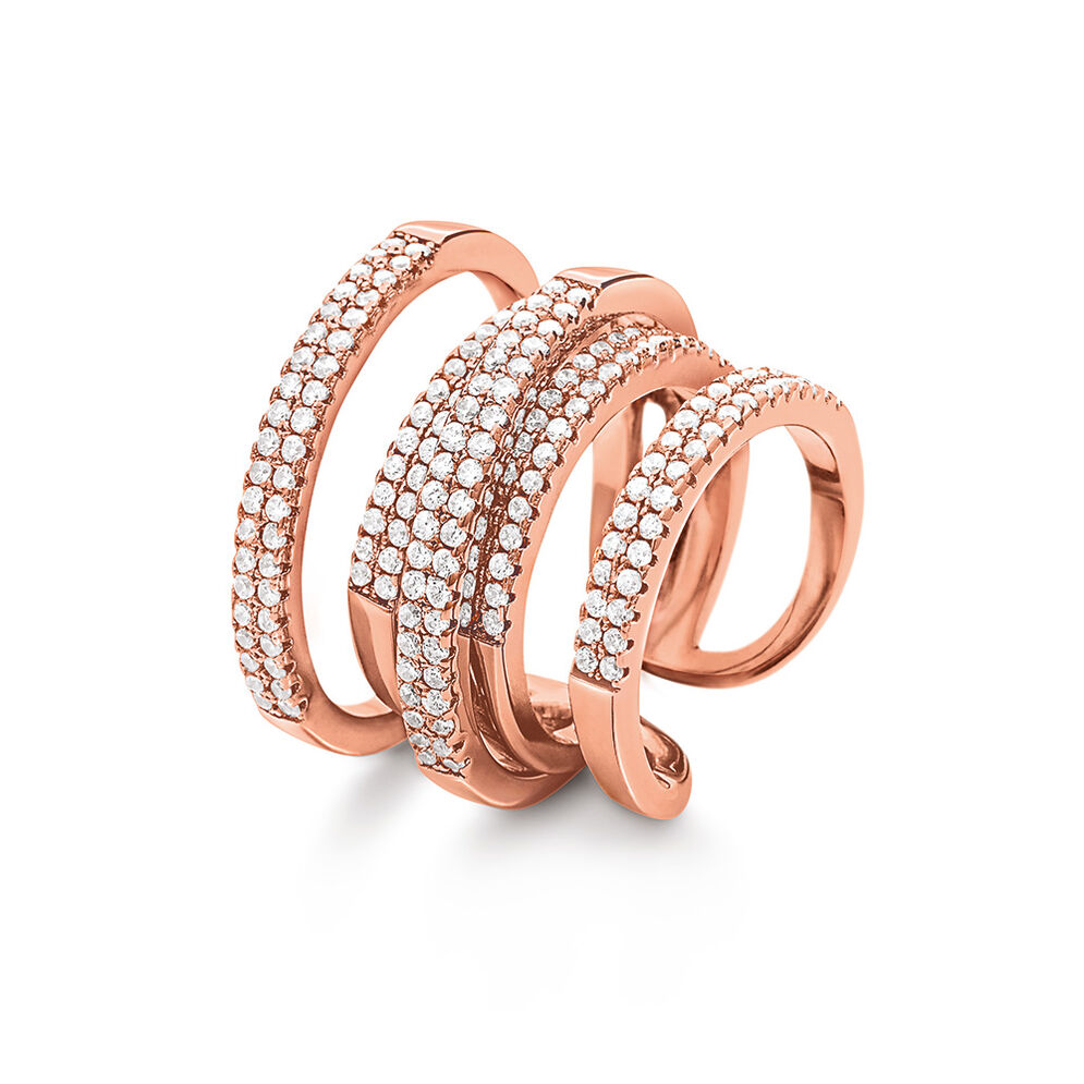 Fashionably Silver Essentials Rose Gold Plated Δαχτυλίδι, , hires