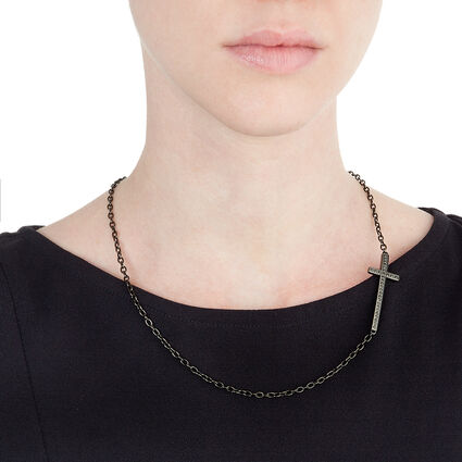 Carma Black Plated Black Crystal Stone Short Necklace, , hires