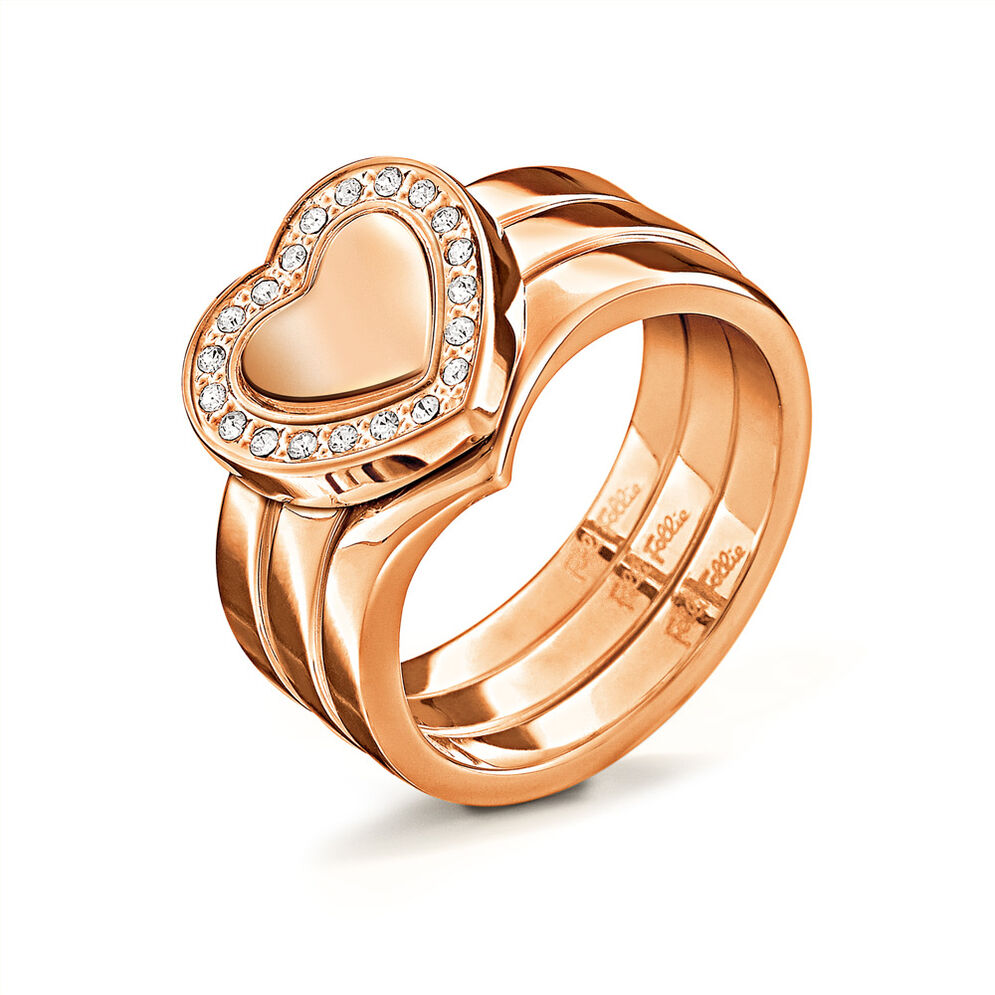 Playful Hearts Rose Gold Plated Clear Crystal Stone Set Ring, , hires