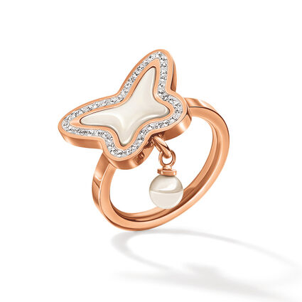 Butterfly Flair Rose Gold Plated Mother Of Pearl Ring, , hires