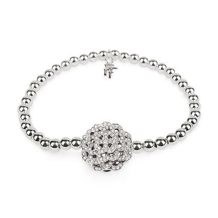 Santorini Flower Silver Plated Pave Clear Crystal Stone Elastic Bracelet, , hires