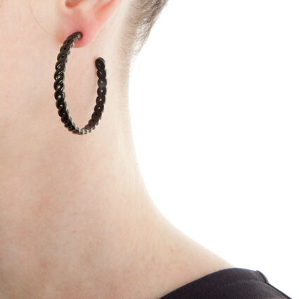 Apeiron Black Plated Hoop Earrings, , hires