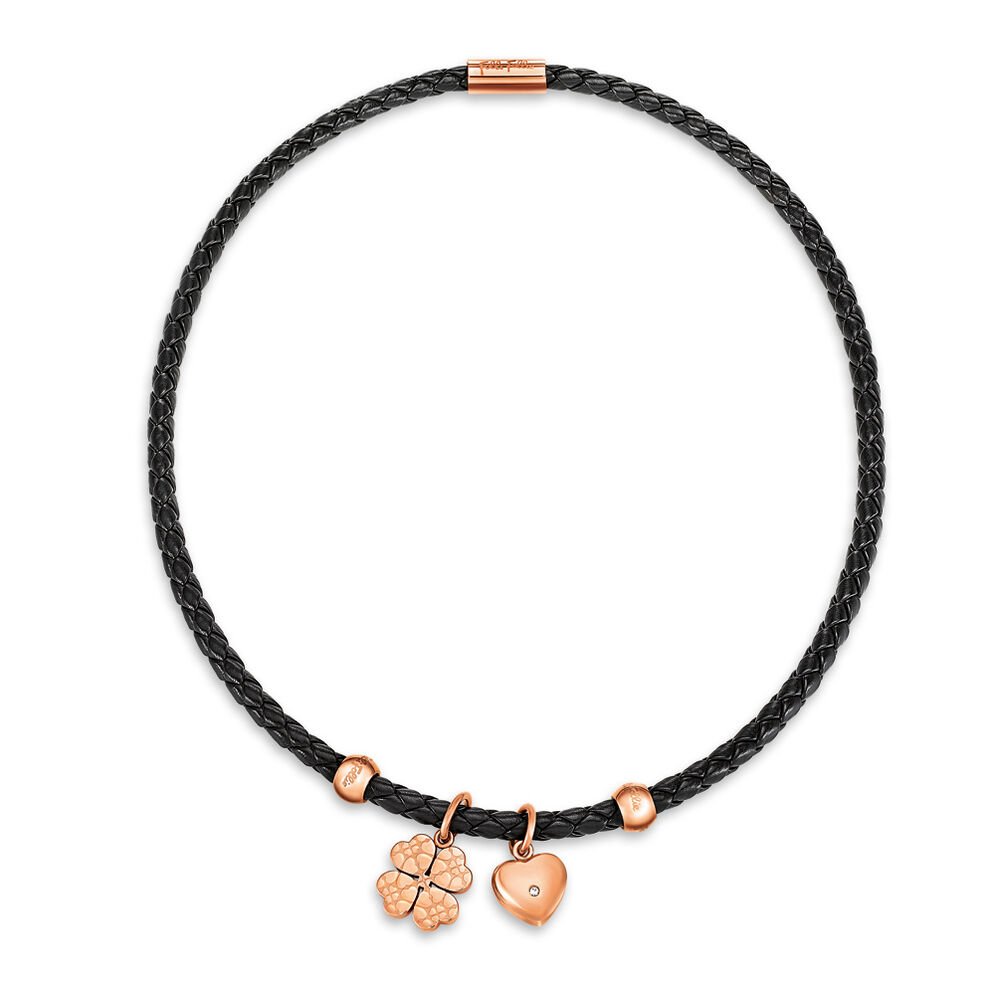 Heart4Heart Sweetheart Rose Gold Plated Black Chocker Necklace , , hires