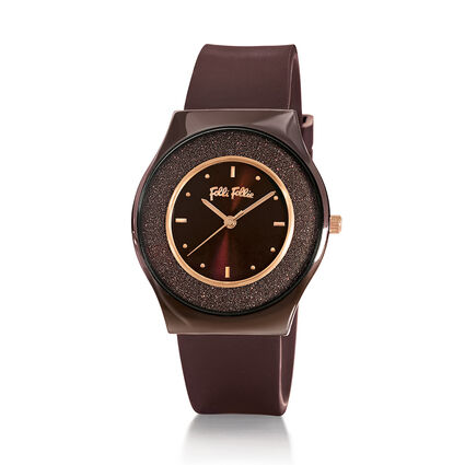 Sparkling Sand Ceramic Case Rubber Watch, Brown, hires