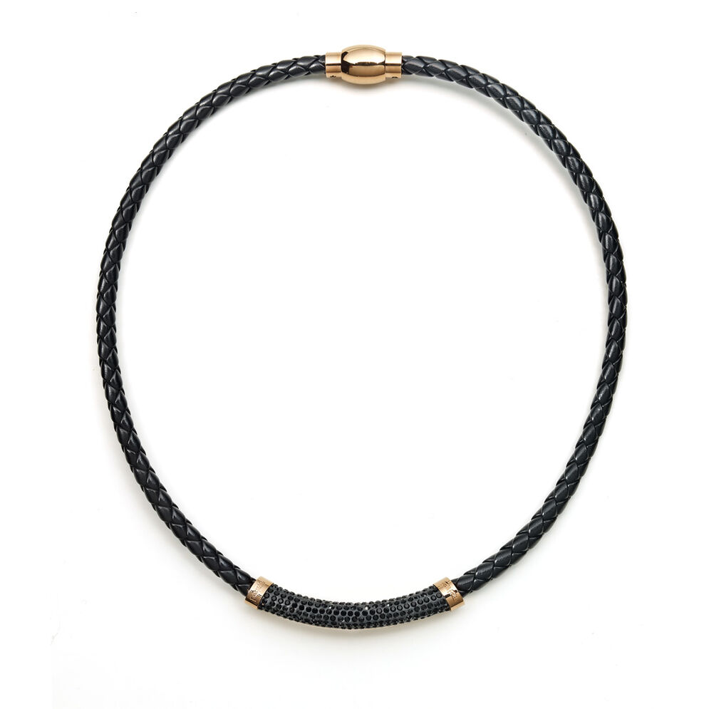 Dazzling Rose Gold Plated Black Chocker Necklace, , hires