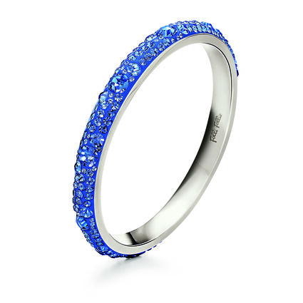 Match & Dazzle Silver Plated Blue Crystal Stone Large Diameter Wide Bangle Bracelet , , hires