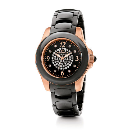 Crystal Time Watch, Bracelet Black, hires