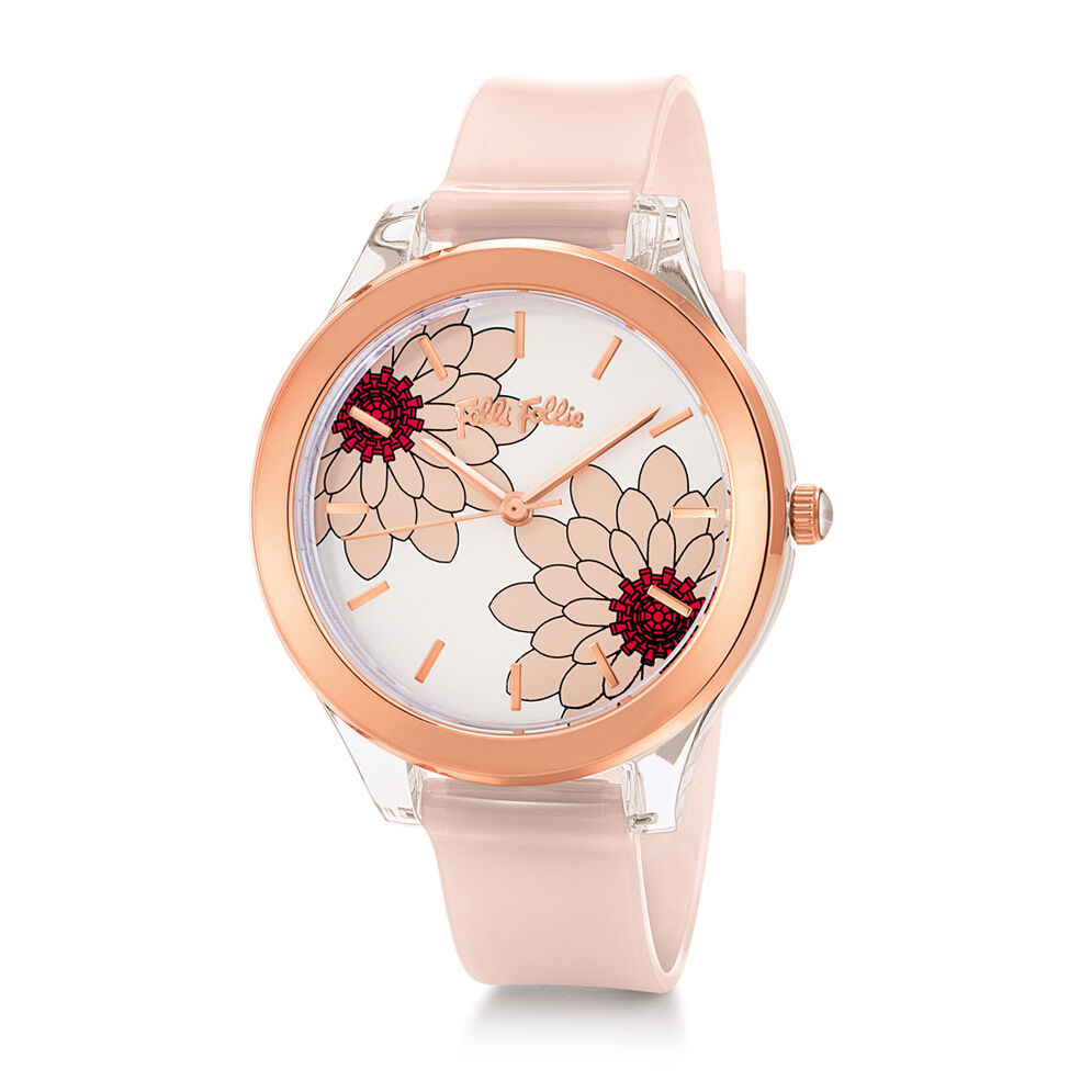 Fleur Riviera Μεσαία Κάσα Πλαστικό Ρολόι, Pink, hires
