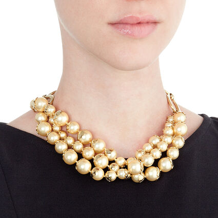 Pearl Muse Yellow Plated Short Necklace, , hires