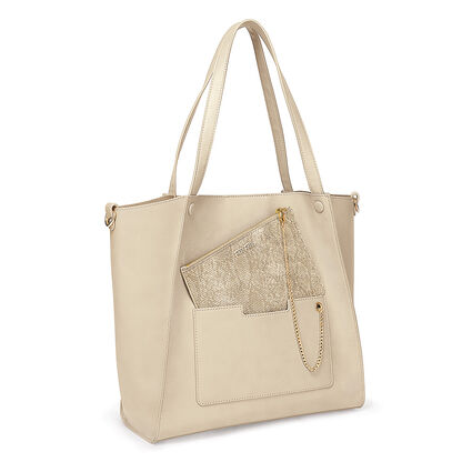 On The Go Τσάντα Ώμου με extra pouch, Beige, hires