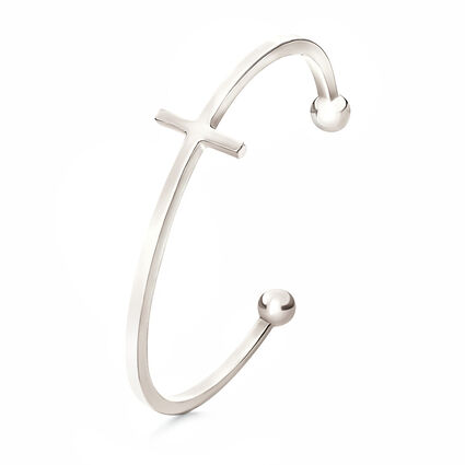 Carma Silver Plated Cross Cuff Bracelet, , hires