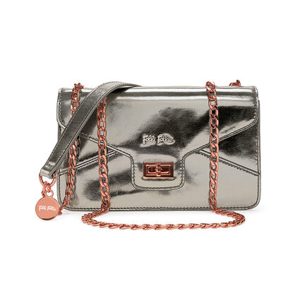 Metallic Love Detachable Chain Strap Shoulder Bag, Gray, hires