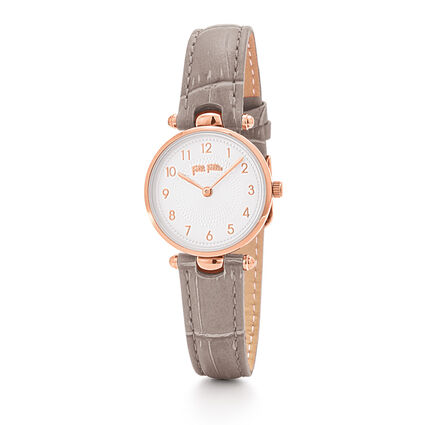 Lady Club Small Case Leather Watch, Gray, hires