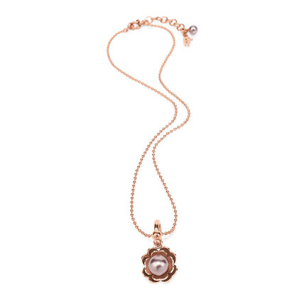 Grace Flair Rose Gold Plated Dirty Pink Pearl On Heart4Heart Motif Short Necklace, , hires