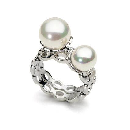 Pearl Muse Silver Plated Double Pearl Ring, , hires