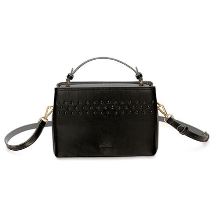 Studded Beauty Detachable Crossbody Strap Handbag with Inner Detachable Pouch, Black, hires