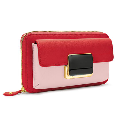 Lady Riviera Continental Leather Wallet Bag With Extra Strap , Pink, hires