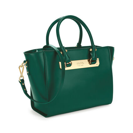 Style Code Detachable Long Strap Leather Handbag, Green, hires