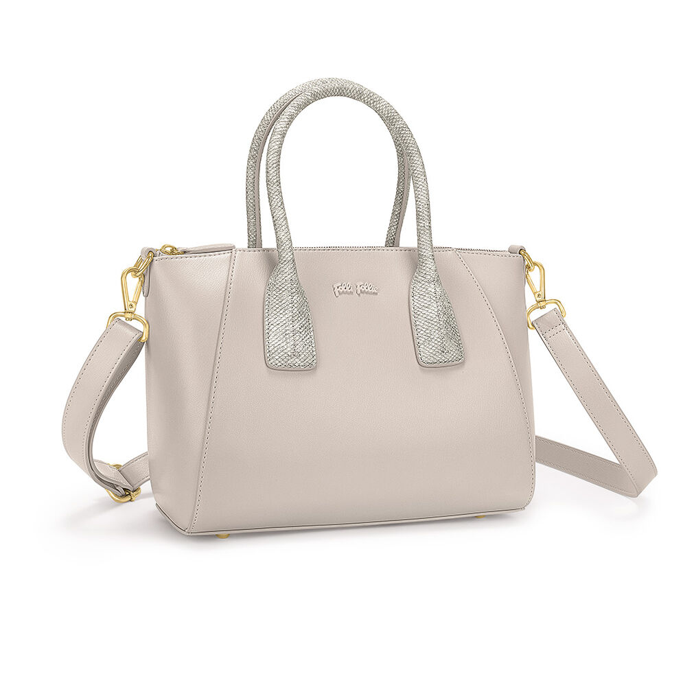 On The Go Detachable Long Strap Snake Handles Handbag, Gray, hires