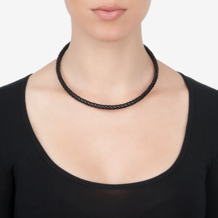 Match and Dazzle Silver Plated Thick Black Chocker Necklace, , hires