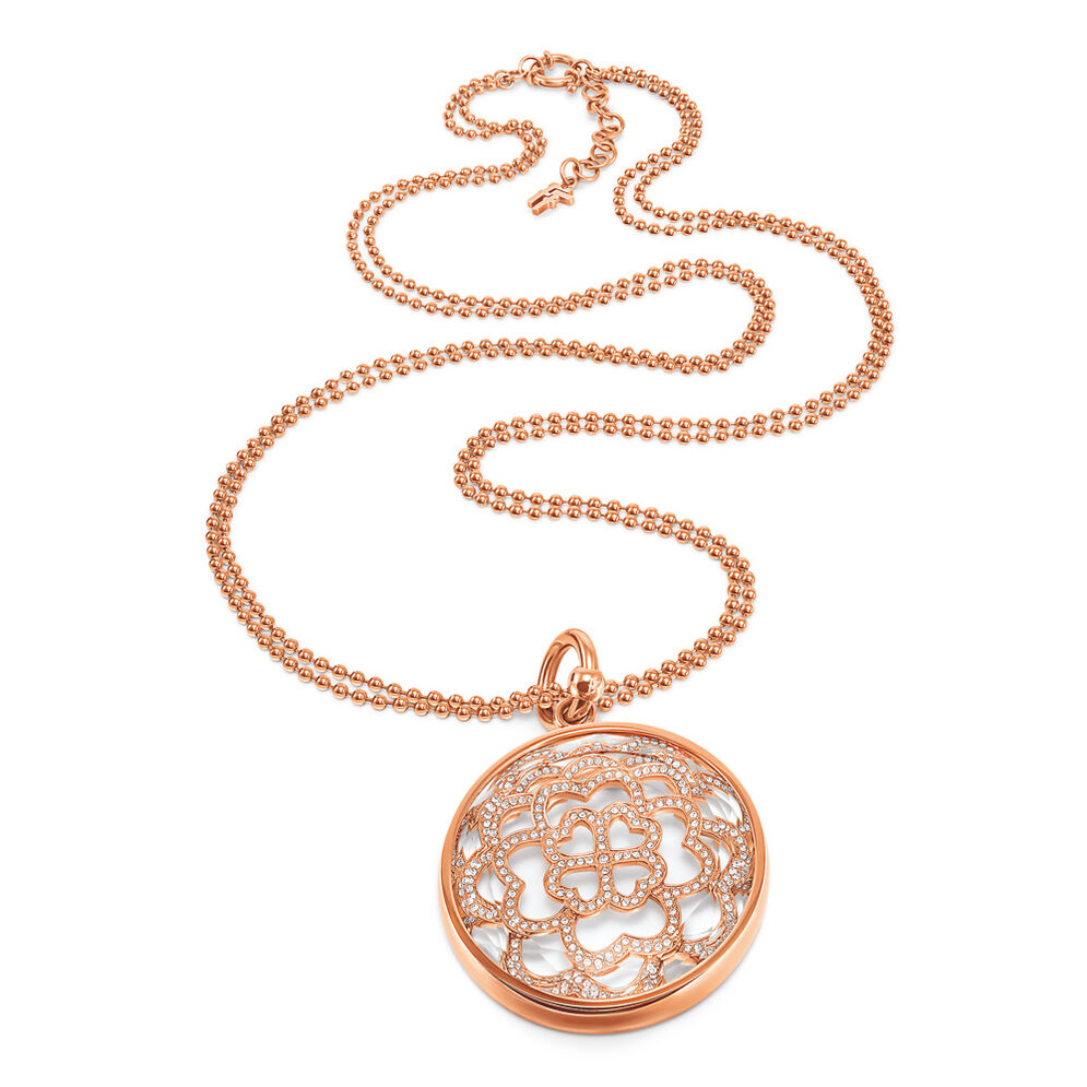 Santorini Flower Rose Gold Plated Long Necklace, , hires