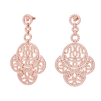 Fashionably Silver Temptation Rose Gold Plated Long Earrings, , hires