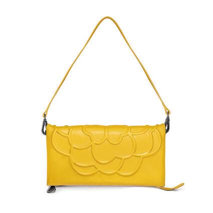 Santorini Flower Detachable Shoulder Strap Leather Evening Bag, Yellow, hires