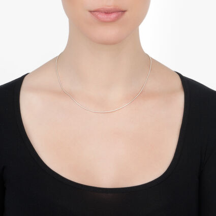 Chain Silver Plated Plain Short Necklace, , hires