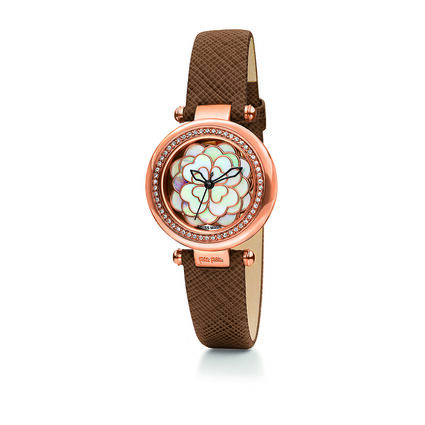 Santorini Flower Swiss Made Reloj, Brown, hires