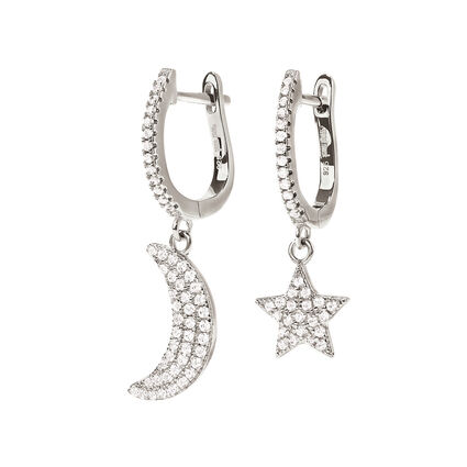 Charm Mates Rhodium Plated Earrings, , hires