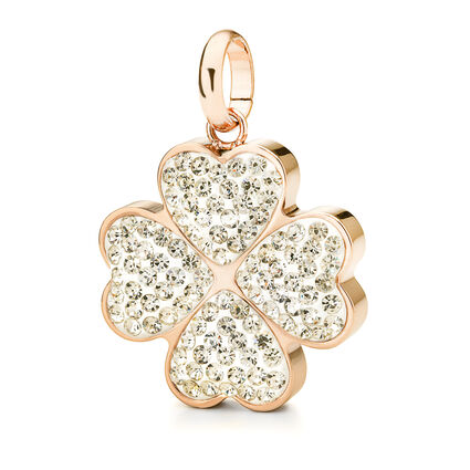 Follie Di Fiori Rose Gold Plated Pave Clear Crystal Stone Large Pendant, , hires