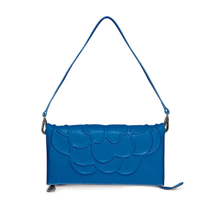 Santorini Flower Detachable Shoulder Strap Leather Evening Bag, Blue, hires