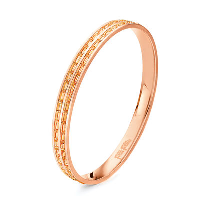 Classy Rose Gold Plated Champaign Square Crystal Stone Large Diameter Bangle Bracelet, , hires