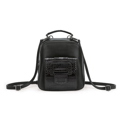 Urban Time Small Leather Backpack, Black, hires