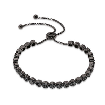 Fashionably Silver Stories Black Rhodium Plated Ρυθμιζόμενο Βραχιόλι, , hires