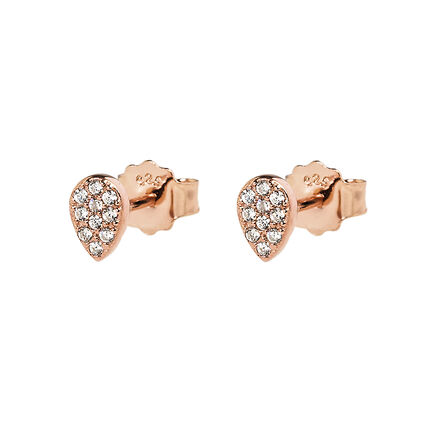 Fashionably Silver Stories Rose Gold Plated Short Earrings, , hires