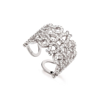 Fashionably Silver Temptation Rhodium Plated Stone Ring, , hires