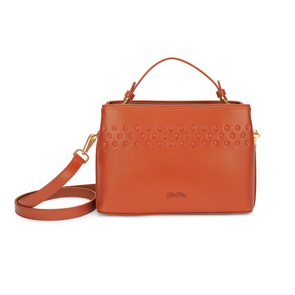 Studded Beauty Detachable Crossbody Strap Handbag with Inner Detachable Pouch, Orange, hires
