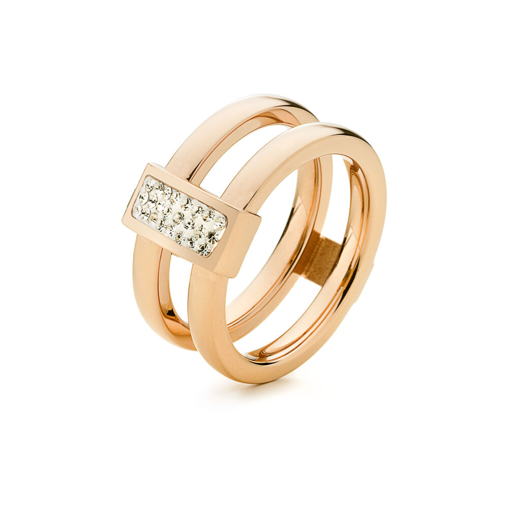 Match & Dazzle Rose Gold Plated Wide Stone Ring, , hires