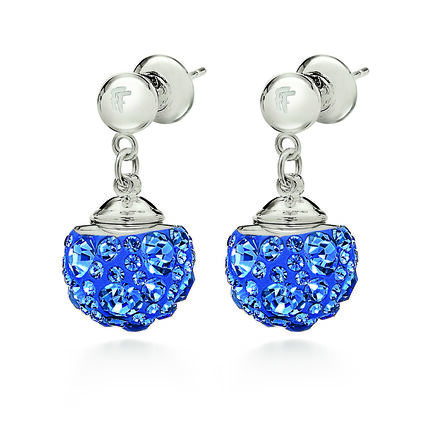 Match and Dazzle Silver Plated Μπλε Κοντά Σκουλαρίκια, , hires