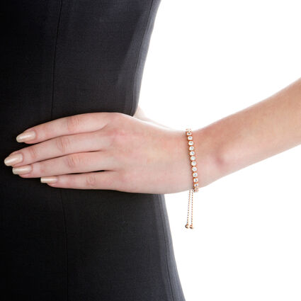 Fashionably Silver Essentials Rose Gold Plated Ρυθμιζόμενο Βραχιόλι, , hires