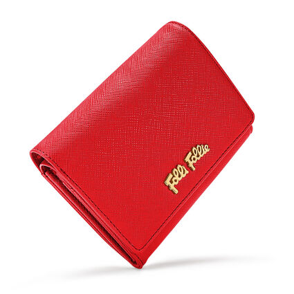 Folli Follie Small Foldable Wallet, Dark Red, hires
