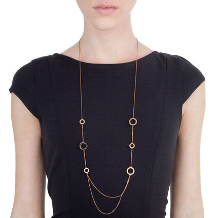 Classy Rose Gold Plated Champaign Crystal Stone Long Necklace, , hires
