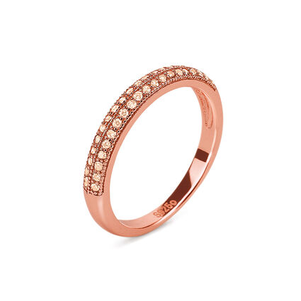 Fashionably Silver Essentials Rose Gold Plated Band Ring, , hires