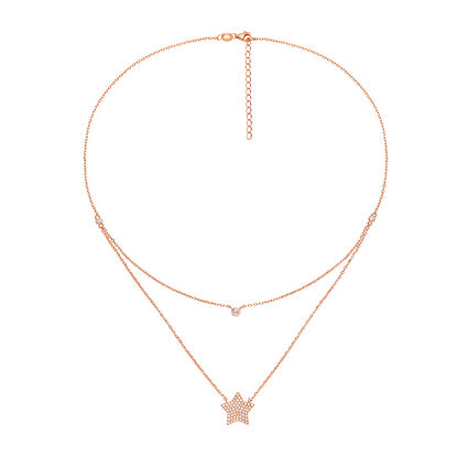 Fashionably Silver Stories Rose Gold Plated Κοντό Κολιέ, , hires
