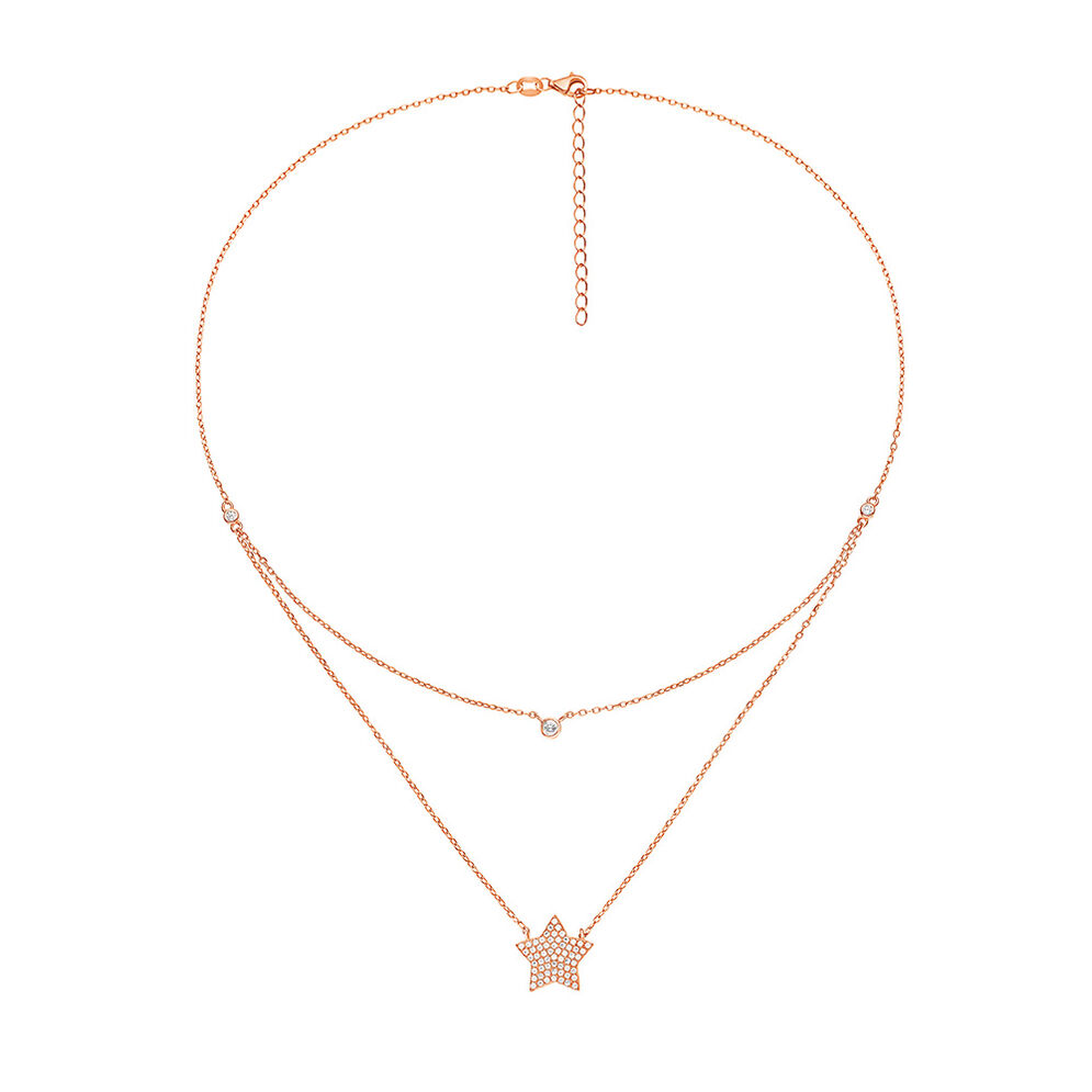 Fashionably Silver Stories Rose Gold Plated Κοντό Κολιέ , , hires