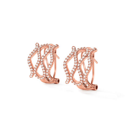 Fashionably Silver Temptation Rose Gold Plated Short Earrings, , hires