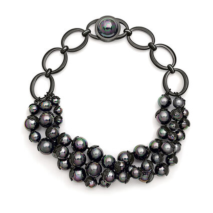 Pearl Muse Black Plated Short Necklace, , hires