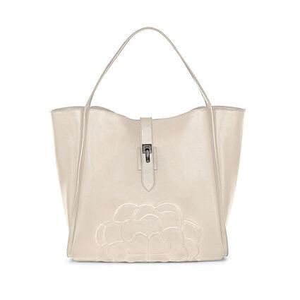 Santorini Flower Large Leather Shoulder Bag with Inner Detachable Pouch, Beige, hires