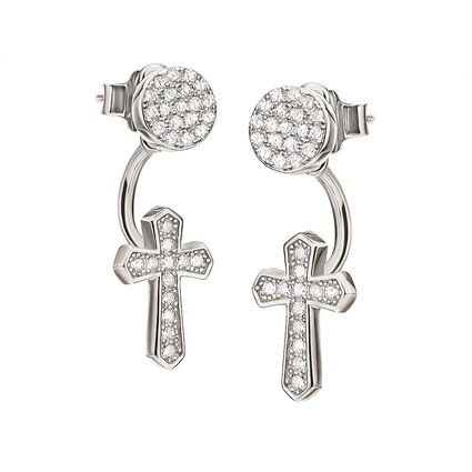 Fashionably Silver Luck Rhodium Plated Stone Earrings, , hires